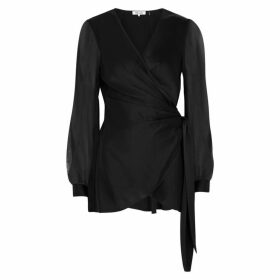 Diane Von Furstenberg Klee Black Satin Wrap Blouse