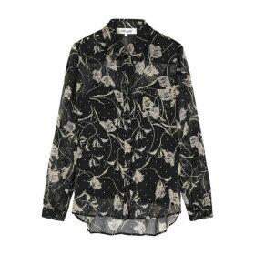 Diane Von Furstenberg Lorelei Black Silk-chiffon Shirt