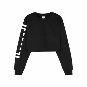 Wolford Black Logo Cropped Jersey Sweatshirt
