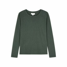 Velvet By Graham & Spencer Liz Dark Green Slubbed Cotton Top