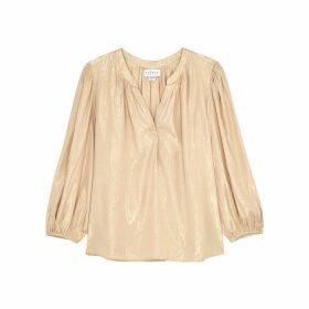 Velvet By Graham & Spencer Linette Cream Metallic-weave Blouse