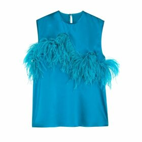 MARQUES' ALMEIDA Turquoise Feather-embellished Silk-satin Top
