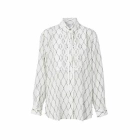 Burberry Crystal Detail Net Print Silk Oversized Tie-neck Shirt