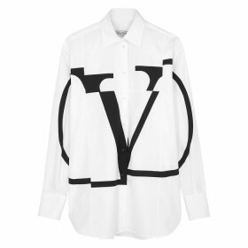 Valentino White Logo Cotton-poplin Shirt