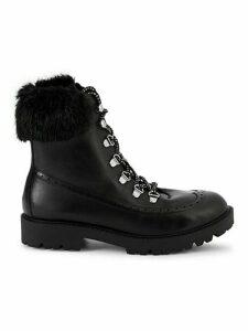 Raider Faux Fur Leather Combat Boots