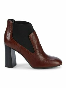 Gomma Stacked-Heel Leather Booties