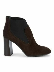 Gomma Stacked-Heel Suede Booties
