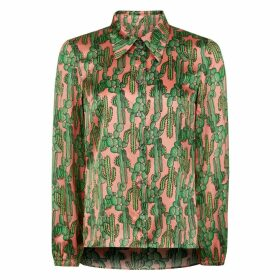PHOEBE GRACE - Nancy Long Sleeve Shirt in Pink Cactus Print