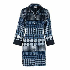 At Last. - Amanda Silk Velvet Shirt- Blue Boho Spot