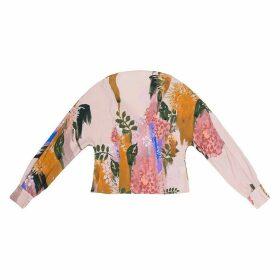Tomcsanyi - Piroska Blurred Flower Print Open Back Tie Blouse