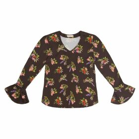 Tomcsanyi - Svetlana Lame Flower Print V Neck Cone Sleeve Top