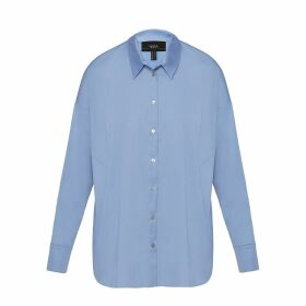 Tomcsanyi - Piroska Lame Flower Print Open Back Tie Blouse