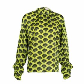 Asneh - Green Satin Silk Fan Print Kate Blouse