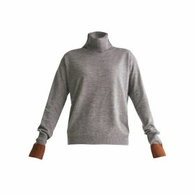 PAISIE - Roll Neck Knitted Top With Contrasting Cuffs In Grey & Brown