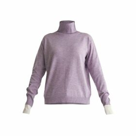 PAISIE - Roll Neck Knitted Top With Contrasting Cuffs In Lilac & White