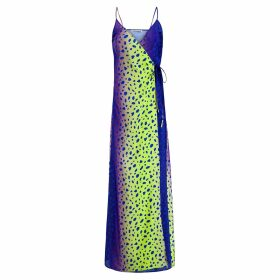 PAISIE - High Neck Jumper With Balloon Sleeves In Blue Marl