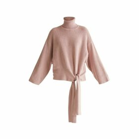 PAISIE - Oversized Roll Neck Jumper With Wrap Tie Waist In Blush