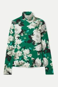 Erdem - Kelly Floral-print Ribbed Stretch-jersey Turtleneck Top - Green