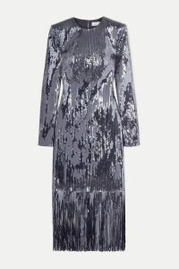 Rebecca Vallance - Matisse Fringed Sequined Crepe Midi Dress - Silver