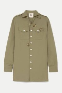 Figue - Appliquéd Cotton Shirt - Army green