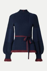 Roksanda - Auric Belted Ribbed Merino Wool Turtleneck Sweater - Navy