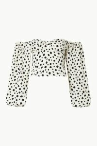 Reformation - Simi Off-the-shoulder Shirred Polka-dot Crepe De Chine Blouse - White
