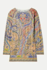 Etro - Metallic Paisley-print Cable-knit Sweater - Peach