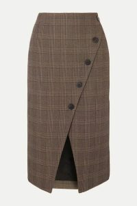 Cefinn - Selby Wrap-effect Prince Of Wales Checked Cotton-blend Midi Skirt - Brown