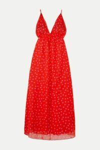 Eywasouls Malibu - Harriet Polka-dot Chiffon Maxi Dress - Red