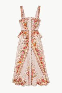 Anna Mason - Olivia Ruffled Printed Cotton Midi Dress - Neutral