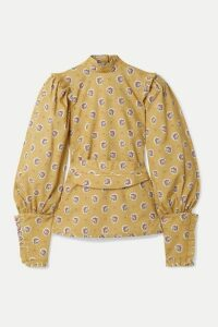 Anna Mason - Harper Belted Ruffled-trimmed Printed Cotton Top - Yellow