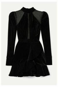 PatBO - Metallic Tulle-paneled Ruffled Velvet Mini Dress - Black