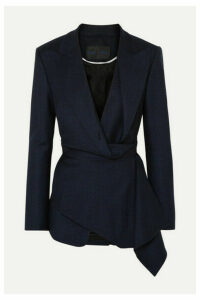 Proenza Schouler - Draped Checked Wool-blend Wrap Blazer - Navy