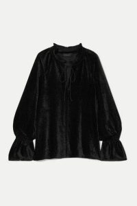 Nili Lotan - Royan Tie-detailed Devoré-velvet Blouse - Black
