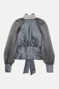 HARMUR - Open-back Belted Crystal-embellished Silk-satin And Tulle Blouse - Gunmetal
