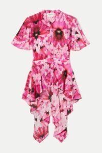 Alexander McQueen - Floral-print Silk Crepe De Chine Peplum Blouse - Pink