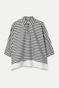 Rosetta Getty - Striped Cotton-poplin Top - Black