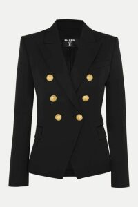 Balmain - Double-breasted Wool-twill Blazer - Black