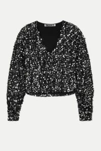 ROTATE Birger Christensen - Masha Sequined Bouclé Top - Silver