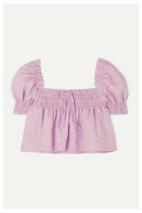 Faithfull The Brand - Lilla Cropped Shirred Linen Top - Lilac