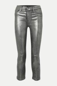 J Brand - Ruby Cropped Metallic Coated High-rise Slim-leg Jeans - Silver