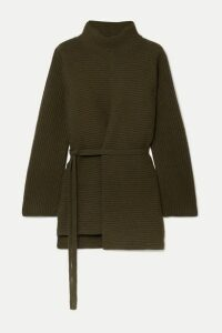 Vince - Belted Asymmetric Ribbed Wool And Cashmere-blend Turtleneck Sweater - Army green