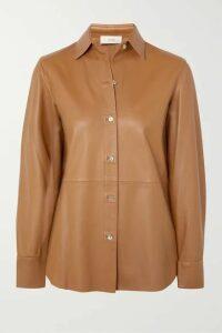 Vince - Leather Shirt - Camel