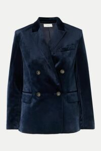 Vince - Double-breasted Velvet Blazer - Navy