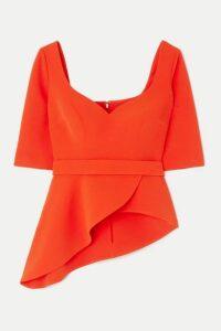 Safiyaa - Pilar Belted Asymmetric Stretch-crepe Peplum Top - Orange