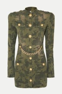 Balmain - Chain-embellished Camouflage-print Cotton-blend Jacket - Army green