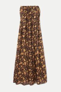 Matteau - Strapless Floral-print Cotton-poplin Maxi Dress - Brown