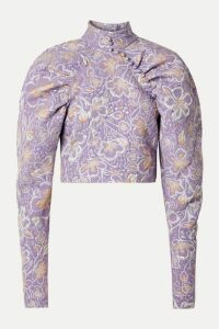 ROTATE Birger Christensen - Kim Cropped Metallic Brocade Top - Lavender