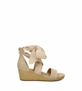 UGG Women's Trina Wedge Sandal in Nude, Size 5, Suede