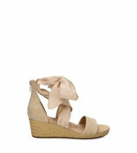 UGG Women's Trina Wedge Sandal in Nude, Size 9, Suede